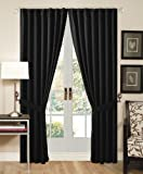 "Solid Black Back Tap Thermal Insulated Blackout Window Curtain 108""Wx84""L -1 Pair"