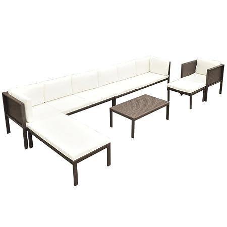 vidaXL 24-tlg. Sitzgruppe Sofa Set Poly Rattan Lounge Gartenmöbel Gartengarnitur Braun