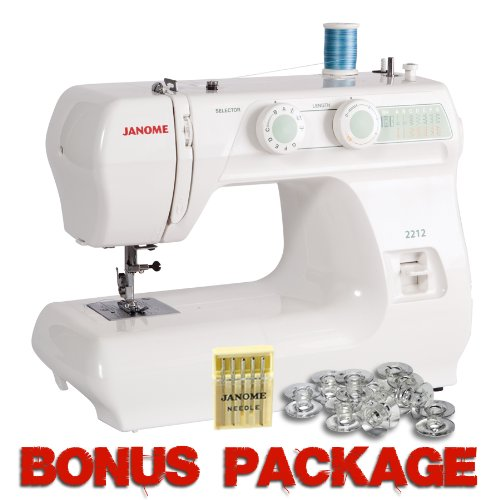 Janome 2212 12 Stitch FullSize Freearm Sewing Machine, 860SPM & FREE BONUS PACKAGE (Janome Travel Sewing Machine compare prices)