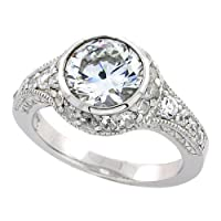 Sterling Silver Vintage Style Engagement Ring w/ Rhodium Plating, w/ 8mm (2.00 Carats) Brilliant Cut CZ Stone, 7/16 (11mm) wide