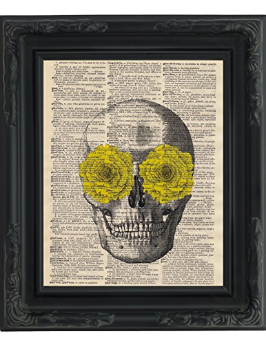 Dictionary Art Print Yellow Rose Skull Day Of The Dead