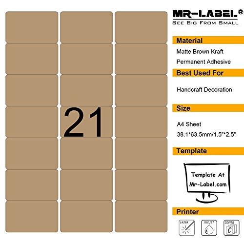 Mr-Label vuota etichette marrone Kraft - 63.5x38.1mm - per il laser e getto d'inchiostro - fogli A4 (10 lenzuola)
