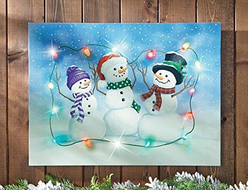 Led Lighted Winter Snowman Wall Canvas Art