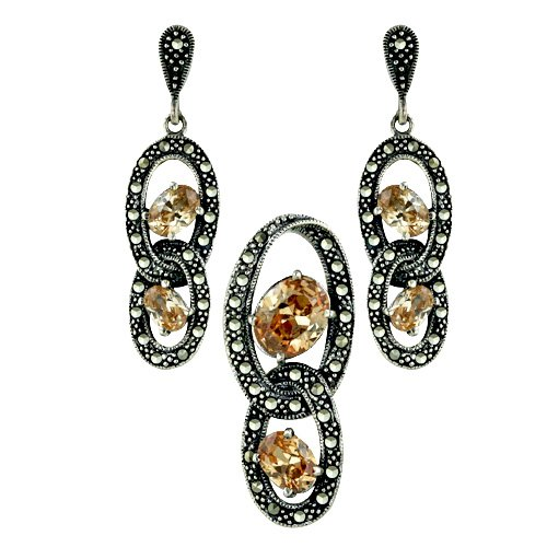 Sterling Silver Marcasite Earring Pendant Set in oval shape of champagne color Stone Interlock