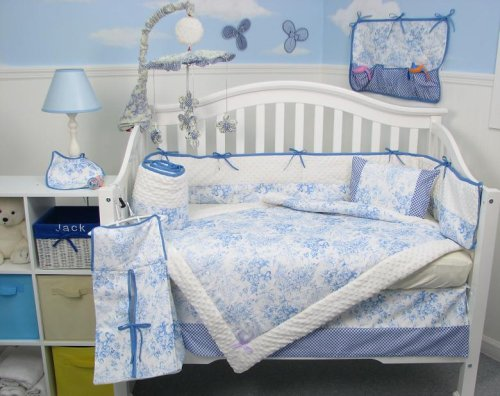 Toile Baby Bedding: French Blue Toile Baby Crib Nursery