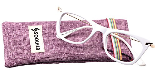 SOOLALA Womens Designer Cat Eye Metal Arms Reading Glasses Customized Strengths, White, +2.25D