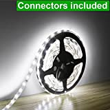 LE 16.4ft LED Flexible Strip Lights, 300 Units SMD 3528 LEDs, 12V DC Non-waterproof, Light Strips, LED ribbon, DIY Christmas Holiday Home Kitchen Car Bar Indoor Party Decoration (Daylight White)