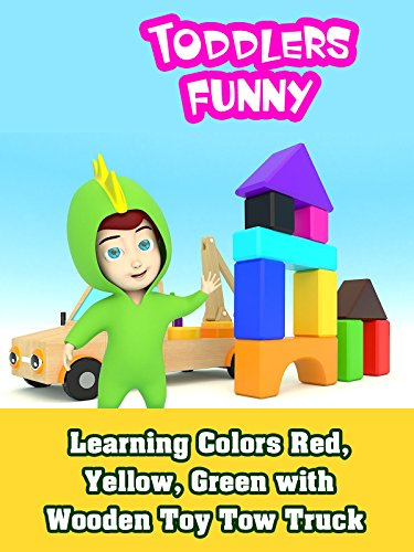 Learning Colors Red, Yellow, Green with Wooden Toy Tow Truck