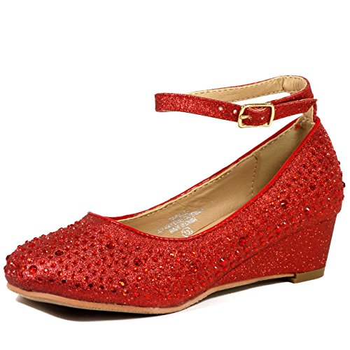 Lj-Adorababy Girl'S Mary Jane Style Wedge Shiny Flat Shoes,Lj Girl Ba32 Red 2