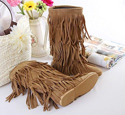 Donna nappa ecopelle scamosciata Mocassino stivali con frange , yellow , 37