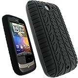 igadgitz Silikon Hülle Schutzhülle Etui Case Tasche in Schwarz mit Reifenprofil-Design für HTC Wildfire G8 Android Smartphone Handy + Display Schutzfolie