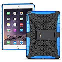 Heartly Flip Kick Stand Spider Hard Dual Rugged Armor Hybrid Bumper Back Case Cover For Apple iPad 6 Air 2 Tablet - Power Blue