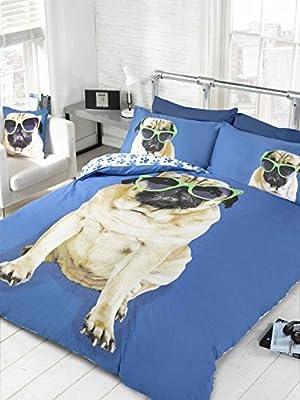 Bedding Heaven Wendedecke, Spaß Design. Percy Pug Bettbezug, Blau Einzelbett Größe Bettbezug. Niedlichen Hund in Sonnenbrille, Pfote Muster auf der Rückseite
