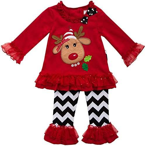 Rare Editions Girls Christmas Reindeer Holiday Dress Leggings , Red , 6X