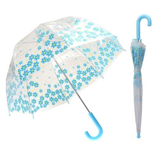 Childrens Girls Transparent Dome Floral Design Umbrella