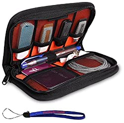 Nylon Fabric Storage Holder/Wallet/Case/Bag/Organizer for USB Flash Drives/Thumb Drives/Pen Drives/Jump Drives and Cables W/ Everything But Stromboli (tm) Lanyard
