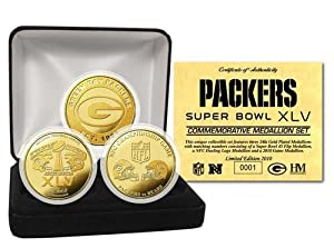 NFL Green Bay Packers Super Bowl XLV 24KT Gold Flip Coin Set