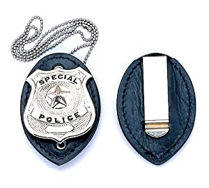 Clip on Leather Badge holder WITH Badge and Chain.(Security Guard)
