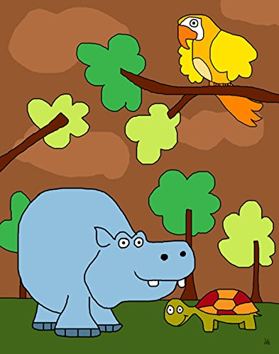 Green Leaf Art Hippo Friends Canvas Art