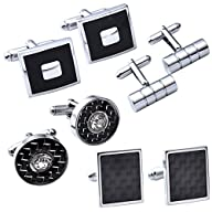 JOVIVI® 4Pairs Stainless Steel Mens Classic Modern Ornate Pattern Style Dress Shirt Cufflinks Mix…