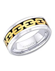 8 mm Peora Gold Tone Chain Link Inlay, Beveled Edge Tungsten Carbide Men's Ring PTR686