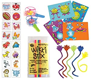 84 Pc Kids Top Choice Party Favor Pack (12 Joke Wikki Stix, 12 Sticky Hands, 12 Make-a-monster Sticker Sheets, 12 Whistle Blow Saucers, 36 Kid's Tattoos) from Multiple