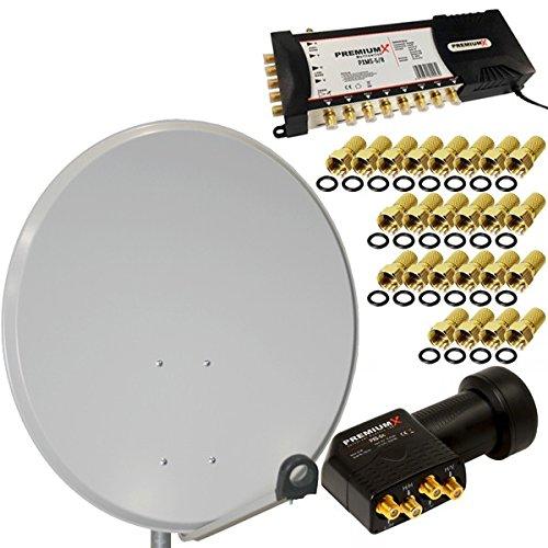 Digitale Sat-Anlage 80cm Spiegel Quattro LNB 0,1dB Full HD Multischalter Matrix