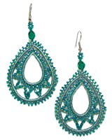 Just Give Me Jewels Handcrafted Turquoise Beaded Teardrop Dangle Earrings