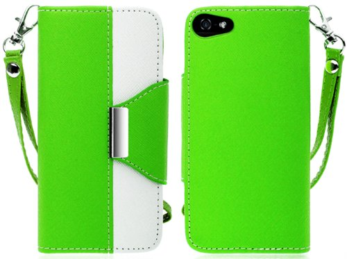 Mylife (Tm) Spring Green And White Stylish Design - Textured Koskin Faux Leather (Card And Id Holder + Magnetic Detachable Closing) Slim Wallet For Iphone 5/5S (5G) 5Th Generation Itouch Smartphone By Apple (External Rugged Synthetic Leather With Magnetic