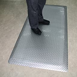 Rhino Mats DTB2436 Diamond Plate Brite Anti-Fatigue Mat, 2\' Width x 3\' Length x 9/16\