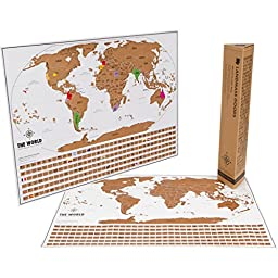 Scratch Map World - Unique Scratch Off Map Travel Gift with Flags and US States - By Landmass