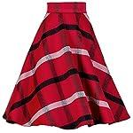 YSJ Women's Wool Midi Skirt A-Line Pleated Vintage Plaid Winter Swing Skirts