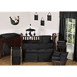 Sweet Jojo Designs Solid Black Minky Dot Neutral Baby Girl Boy Unisex Bedding 9pc Crib Set