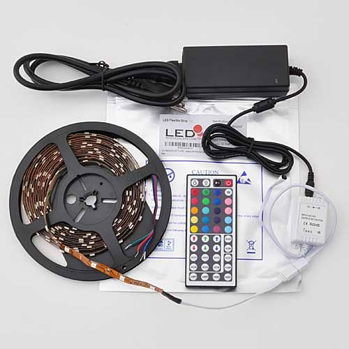 Ledwholesalers 16.4 Ft Rgb Color Changing Kit With Led Flexible Strip, 44 Button Diy Controller + Remote And 12 Volt Power Supply 2034Kit1