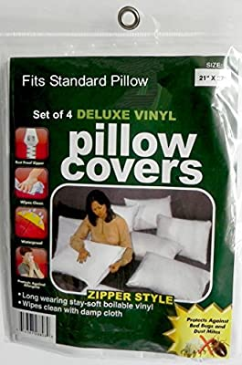 4 Deluxe Zippered Vinyl Pillow Covers Protects Against Bed Bugs & Dust Mites Sanitary Home