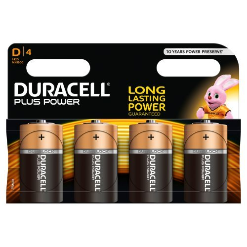 Duracell - Pile Alcaline Plus Power - D x 4