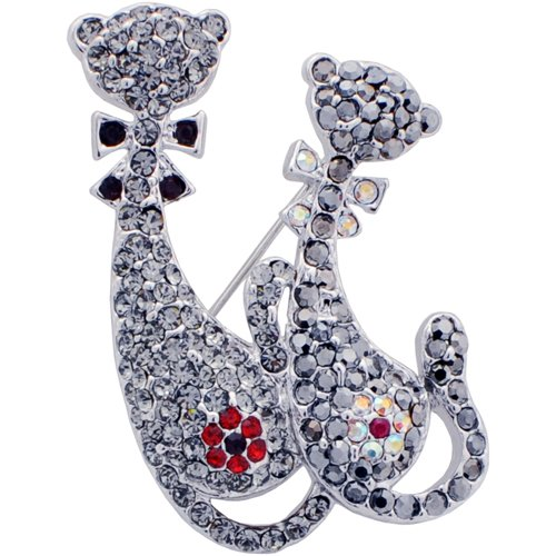 Couple Cat Swarovski Crystal Kitty Pin Brooch and Pendant Jewelry