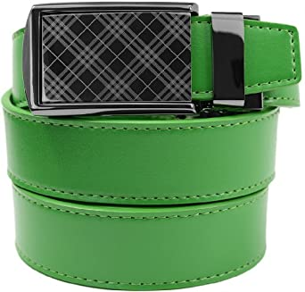 "SlideBelt - Tartan Gunmetal Buckle with Green Leather (46-50"")"