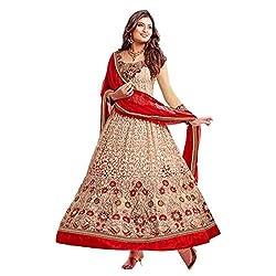 Parabdhani Fashion Women's Chanderi Semi Stitched Suit (PBF_DM_13_Red_Free Size)
