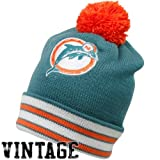 NFL Mitchell & Ness Miami Dolphins Aqua-Orange Throwback Jersey Striped Cuffed Knit Beanie at Amazon.com