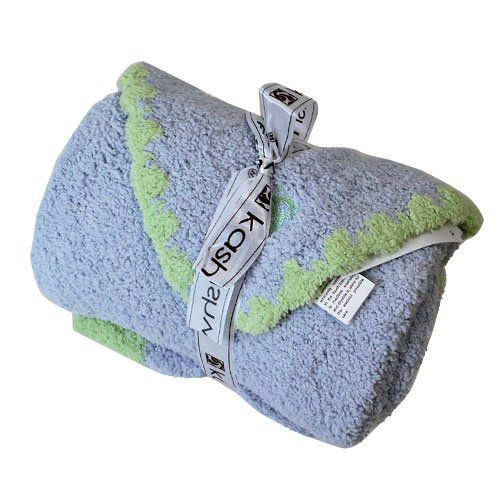 Kashwere Baby Set: Blanket & Cap - Blue w/Green Trim