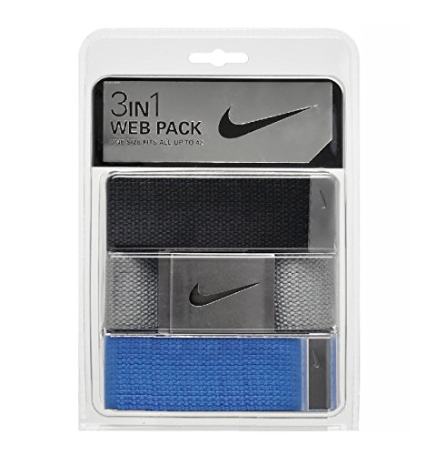 Nike Men's One Size Fits All Web Belts : Variety Packs of 3 (Black/Grey/Cyan Blue, One Size) (Nike Bottle Opener Belt compare prices)