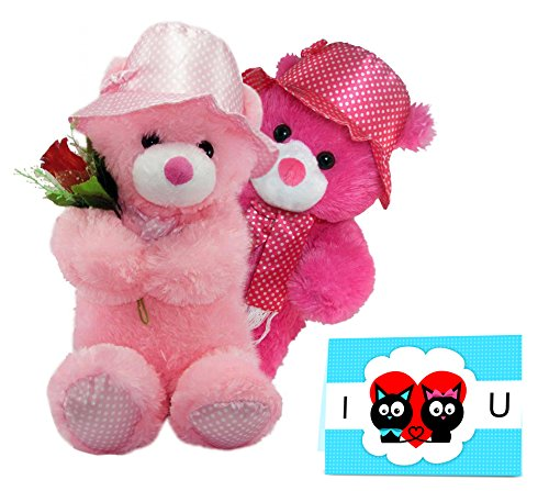 Tied Ribbons Love You Gift Combo 2 Teddy With Rose And Greeting Card