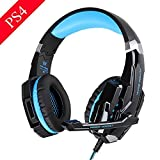 HTQ KOTION EACH G9000 Stereo Gaming Headset for PS4 with Mic LED Lighting Noise Cancellation and In-line Controller Compatible with Mobile Phones Laptop Tablet and Computer (Black and Blue) (Color: blue)