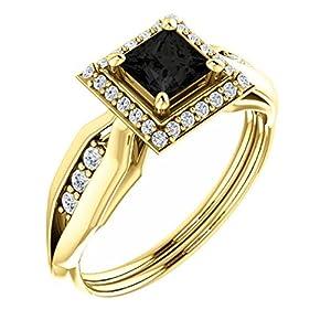18K Yellow Gold Princess Cut Black Diamond Halo-Style Engagement Ring - 1.21 Ct.