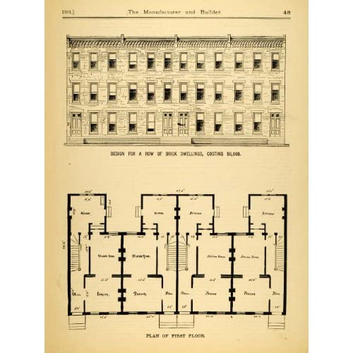 Amazon.com: 1881 Print Brick Row House Architectural Design Floor Plan ...: www.amazon.com/Print-Brick-Architectural-Design-Architects/dp...