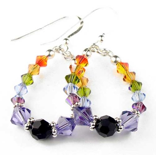 Damali - E01 - Chakra Earrings: Hoop Beaded Earrings