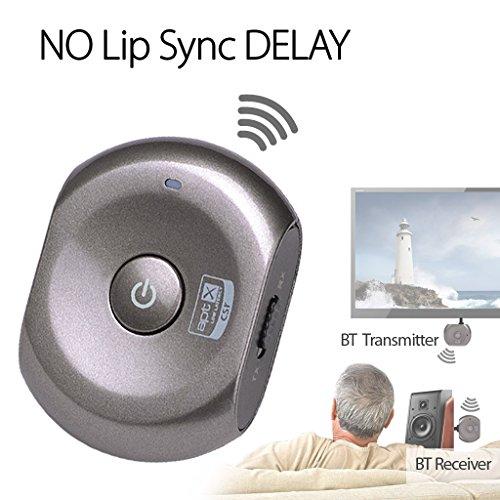 Avantree Ricevitore e trasmettitore di musica via Bluetooth BASSA LATENZA Certificata | Adattatore 2-in-1 | Aggiungete le funzioni Bluetooth agli altoparlanti di casa, alle cuffie, alla TV e ad ogni altro dispositivo audio analogico - Saturn Pro