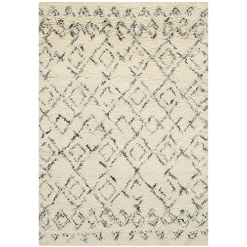 Safavieh Casablanca Collection CSB845A Handmade Ivory and Grey Wool Area Rug, 3 feet by 5 feet (3' x 5')