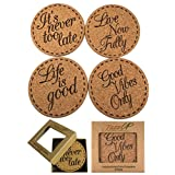 Drink Coasters Gift Set (4 PACK) | X Large - Premium Cork Coasters with Inspirational Quotes
